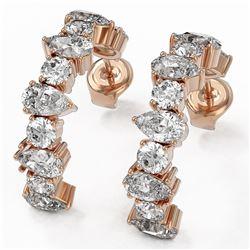 4.42 ctw Pear Cut Diamond Designer Earrings 18K Rose Gold