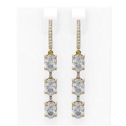 4.99 ctw Oval Diamond Earrings 18K Yellow Gold