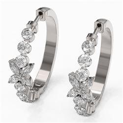3 ctw Diamond Designer Earrings 18K White Gold