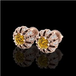 2.01 ctw Intense Fancy Yellow Diamond Art Deco Earrings 18K Rose Gold