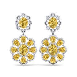 29.9 ctw Canary Citrine & VS Diamond Earrings 18K White Gold