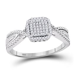 10kt White Gold Diamond Square Cluster Tapered Bridal Wedding Engagement Ring 1/6 Cttw