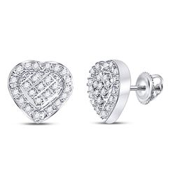 Sterling Silver Round Diamond Heart Cluster Stud Earrings 1/20 Cttw