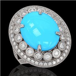 9.07 ctw Turquoise & Diamond Victorian Ring 14K White Gold