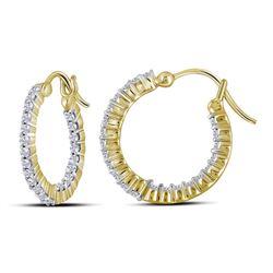 14kt Yellow Gold Round Diamond Inside Outside Hoop Earrings 1/2 Cttw