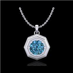 0.75 ctw Fancy Intense Blue Diamond Art Deco Necklace 18K White Gold