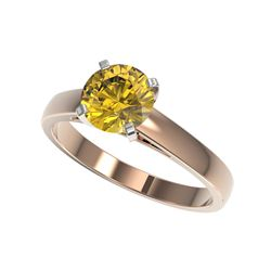 1.50 ctw Certified Intense Yellow Diamond Solitaire Ring 10K Rose Gold