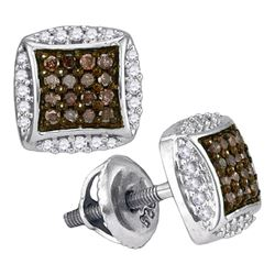 10kt White Gold Round Brown Diamond Square Cluster Earrings 1/3 Cttw