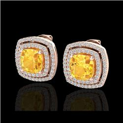 3.55 ctw Citrine And Micro Pave VS/SI Diamond Earrings 14K Rose Gold