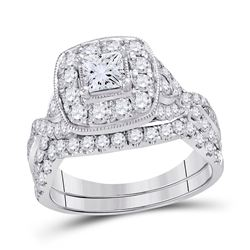 14kt White Gold Princess Diamond Bridal Wedding Engagement Ring Band Set 2.00 Cttw