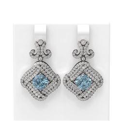 6.91 ctw Aquamarine & Diamond Earrings 18K White Gold