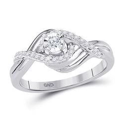 10kt White Gold Round Diamond Solitaire Bridal Wedding Engagement Ring 1/5 Cttw