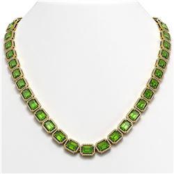 57.3 ctw Peridot & Diamond Micro Pave Halo Necklace 10K Yellow Gold