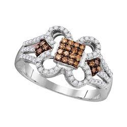 10kt White Gold Round Brown Diamond Quatrefoil Square Cluster Ring 1/2 Cttw