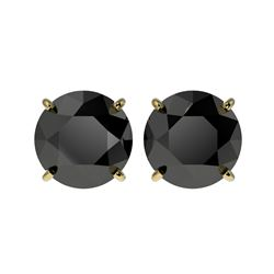 4.19 ctw Fancy Black Diamond Solitaire Stud Earrings 10K Yellow Gold