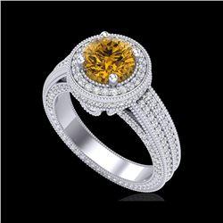 2.8 ctw Intense Fancy Yellow Diamond Art Deco Ring 18K White Gold