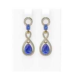 8.75 ctw Tanzanite & Diamond Earrings 18K Yellow Gold