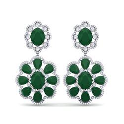 33.88 ctw Emerald & VS Diamond Earrings 18K White Gold