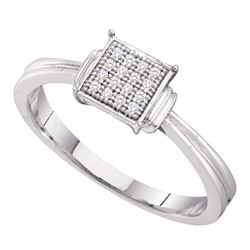 Sterling Silver Round Diamond Simple Square Cluster Ring 1/20 Cttw