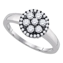 Sterling Silver Round Diamond Flower Cluster Ring 1/2 Cttw