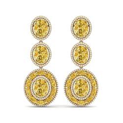 29.71 ctw Canary Citrine & VS Diamond Earrings 18K Yellow Gold
