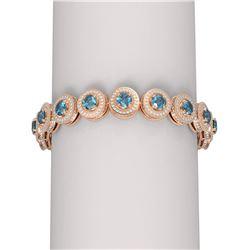 16.91 ctw Intense Blue Diamond Bracelet 18K Rose Gold