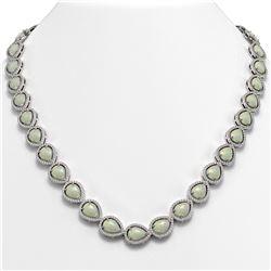 36.48 ctw Opal & Diamond Micro Pave Halo Necklace 10K White Gold