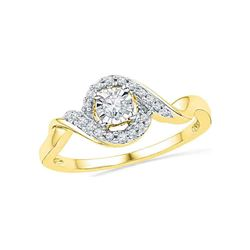 10kt Yellow Gold Round Diamond Solitaire Twist Promise Bridal Ring 1/6 Cttw