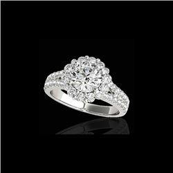 2.51 ctw Certified Diamond Solitaire Halo Ring 10K White Gold