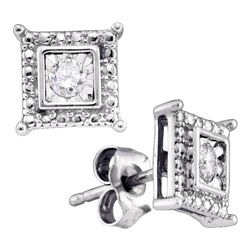 Sterling Silver Round Diamond Solitaire Square Stud Earrings 1/20 Cttw