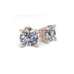 1.50 ctw VS/SI Diamond Stud Designer Earrings 18K Rose Gold
