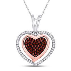 10kt White Rose Gold Round Red Color Enhanced Diamond Heart Pendant 1/4 Cttw