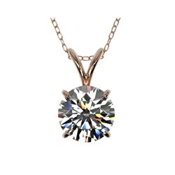 1.28 ctw Certified Quality Diamond Necklace 10K Rose Gold