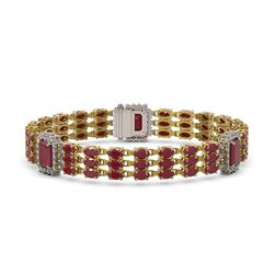 29.64 ctw Ruby & Diamond Bracelet 14K Yellow Gold