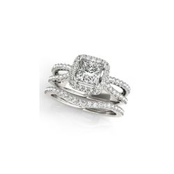 1.02 ctw Certified VS/SI Princess Diamond 2pc Set Ring Halo 14K White Gold