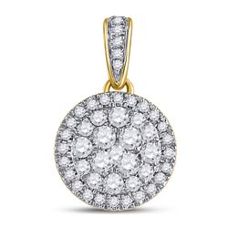 14kt Yellow Gold Round Diamond Halo Cluster Pendant 1/2 Cttw