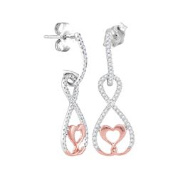 10kt White Rose Gold Round Diamond Dangle Infinity Heart Earrings 1/4 Cttw