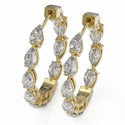 5.2 ctw Pear Cut Diamond Earrings 18K Yellow Gold