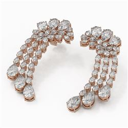 13.54 ctw Pear Cut Diamonds Designer Earrings 18K Rose Gold