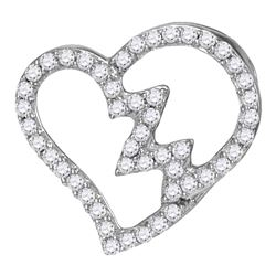 10kt White Gold Round Diamond Heartbeat Heart Outline Pendant 1/6 Cttw