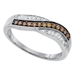 10kt White Gold Round Brown Diamond Band Ring 1/4 Cttw