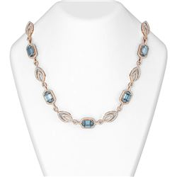 43.62 ctw Blue Topaz & Diamond Necklace 18K Rose Gold