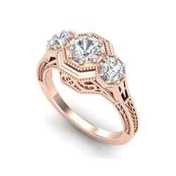 1.05 ctw VS/SI Diamond Solitaire Art Deco 3 Stone Ring 18K Rose Gold