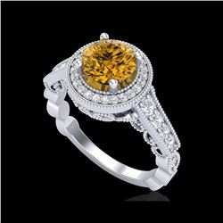 1.91 ctw Intense Fancy Yellow Diamond Art Deco Ring 18K White Gold