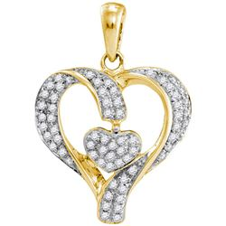 10kt Yellow Gold Round Diamond Heart Pendant 1/6 Cttw