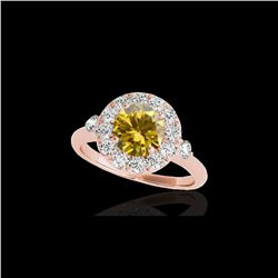 1.5 ctw Certified SI/I Fancy Intense Yellow Diamond Ring 10K Rose Gold