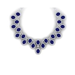 81 ctw Sapphire & VS Diamond Necklace 18K White Gold