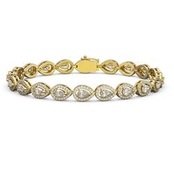 8.58 ctw Pear Cut Diamond Micro Pave Bracelet 18K Yellow Gold