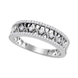 10kt White Gold Round Diamond Filigree Symmetrical Band Ring 1/4 Cttw