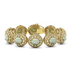 40.37 ctw Certified Opal & Diamond Victorian Bracelet 14K Yellow Gold